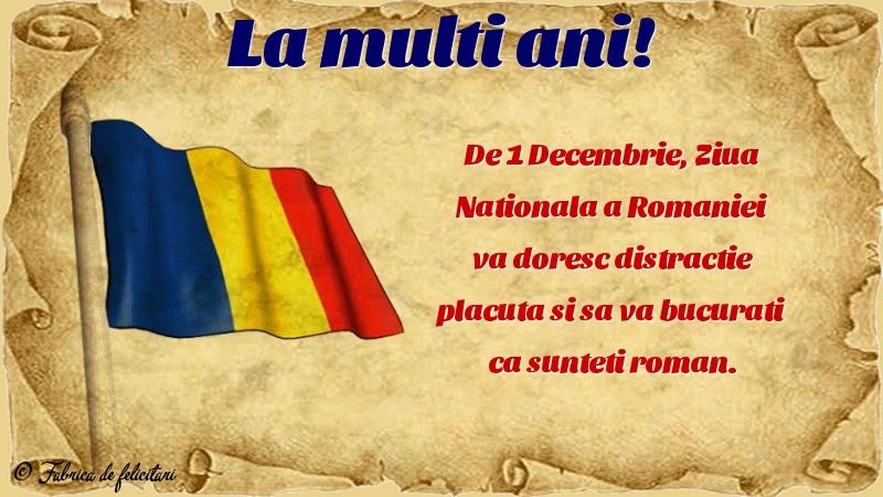 Felicitari de 1 Decembrie - La mulți ani!
