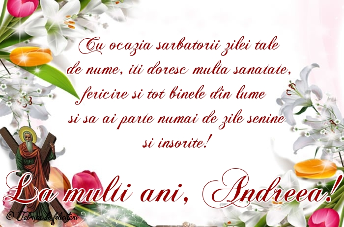 Felicitari de Sfantul Andrei - La mulți ani, Andreea!