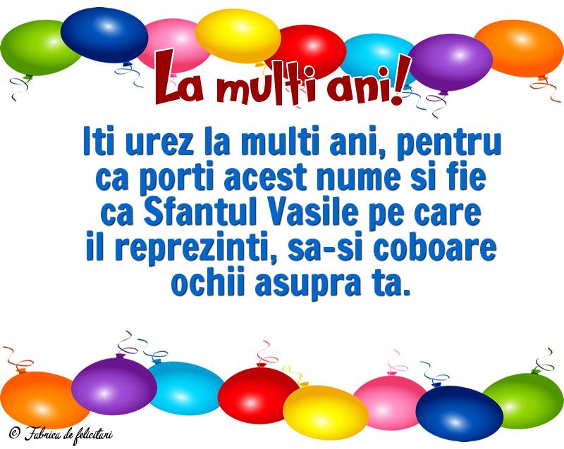 Felicitari de Sfantul Vasile - La multi ani!