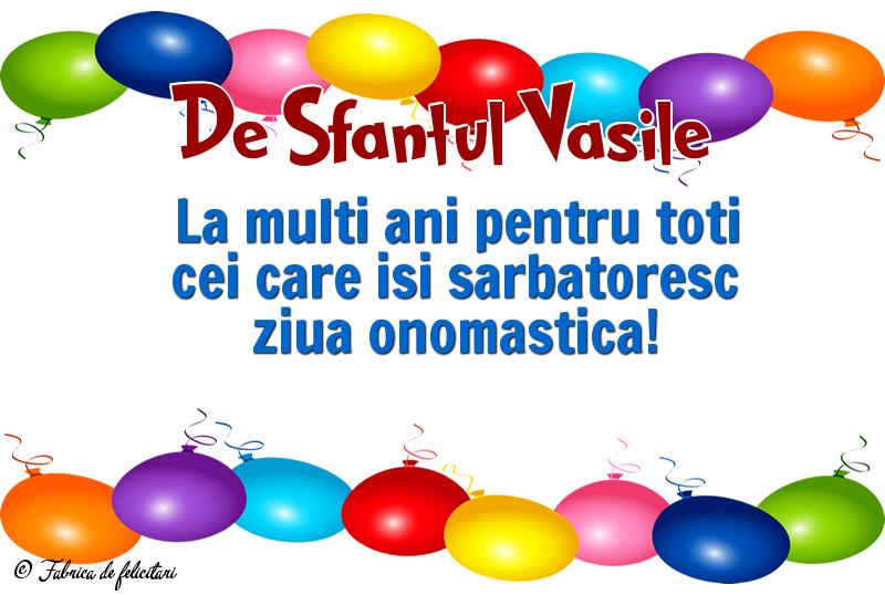 Felicitari de Sfantul Vasile - De Sfantul Vasile
