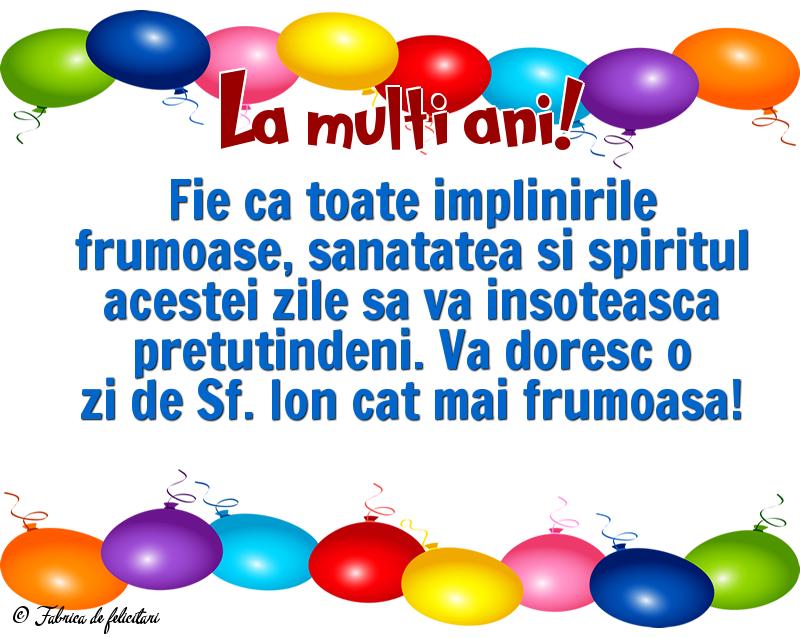 Felicitari de Sfantul Ioan - La multi ani!