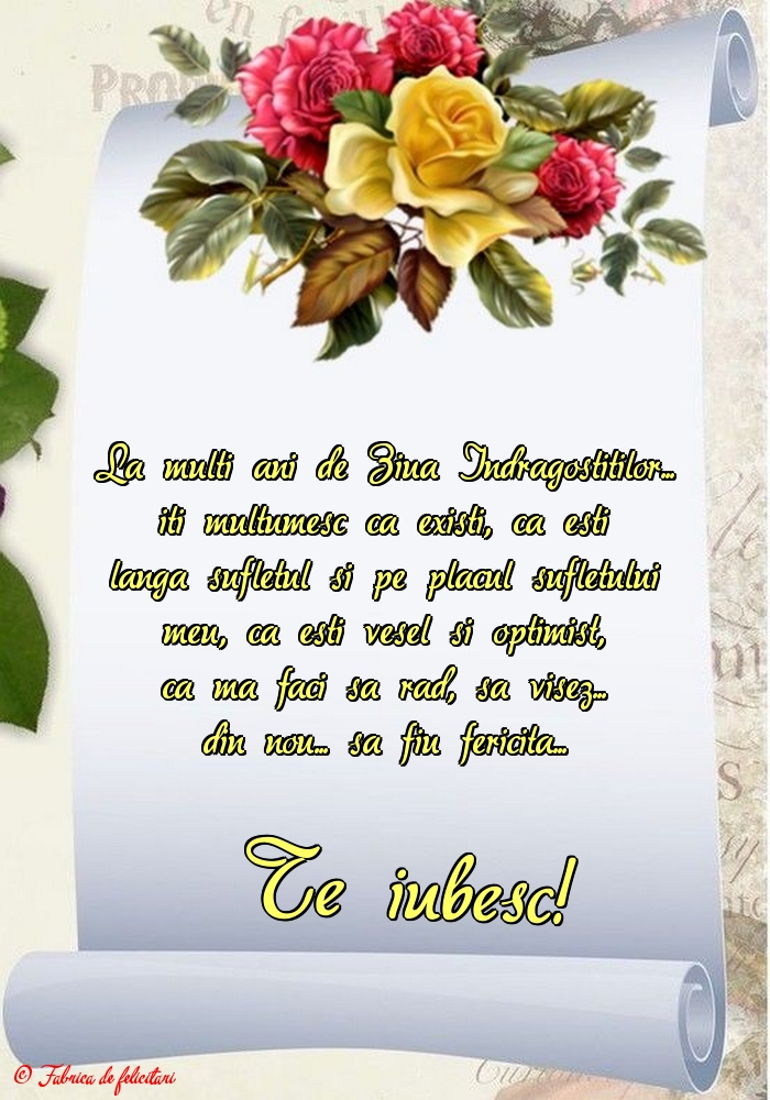 Felicitari de Ziua Indragostitilor - Te iubesc!