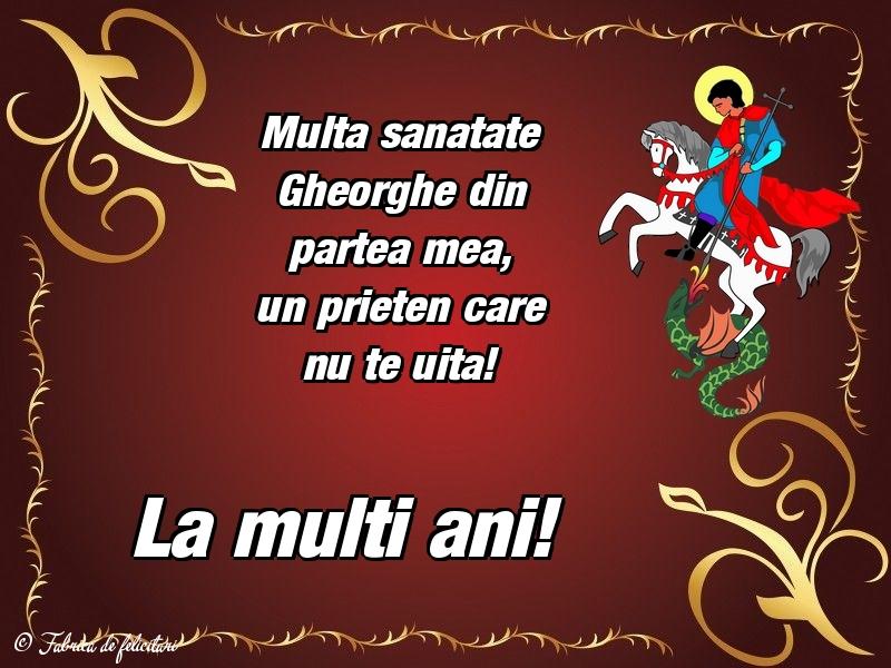 Felicitări de Sfântul Gheorghe - La mulți ani!