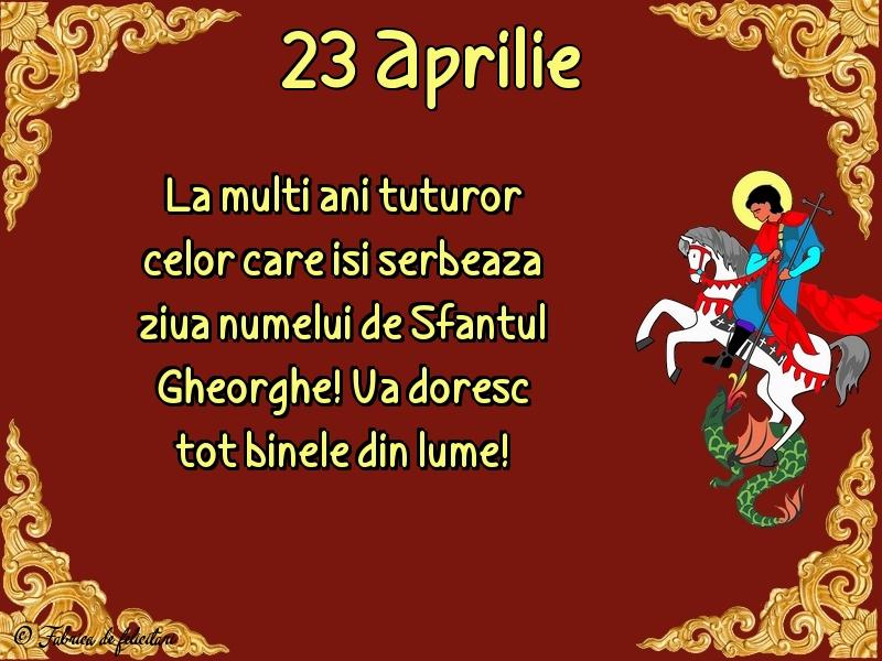 Felicitări de Sfântul Gheorghe - 23 Aprilie