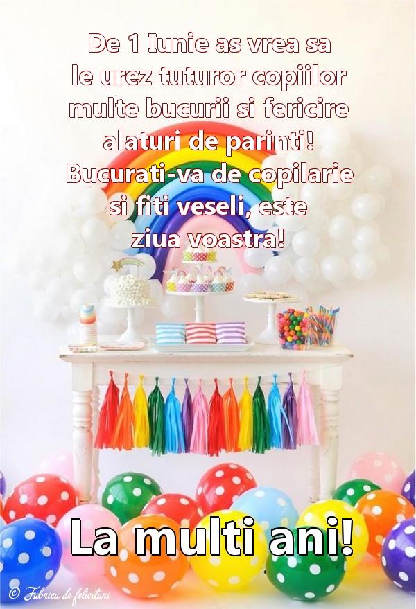 Felicitari de 1 Iunie - La mulți ani!