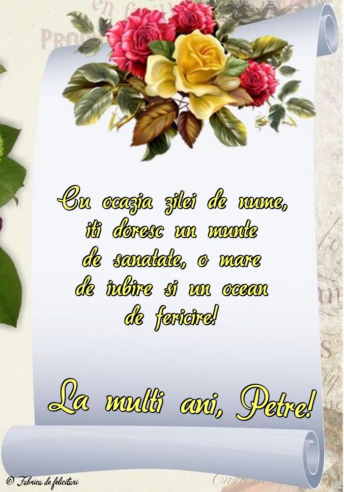 Felicitări de sfintii Petru si Pavel - La mulți ani, Petre!