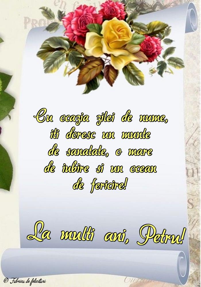 Felicitări de sfintii Petru si Pavel - La mulți ani, Petru!