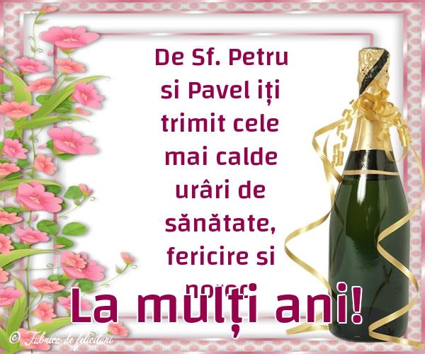 Felicitări de sfintii Petru si Pavel - La mulți ani!