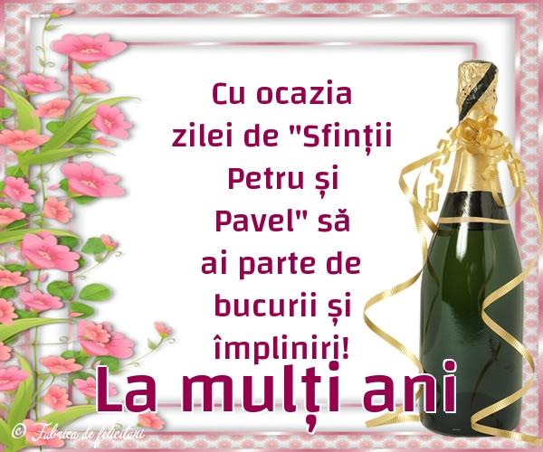 Felicitări de sfintii Petru si Pavel - La mulți ani