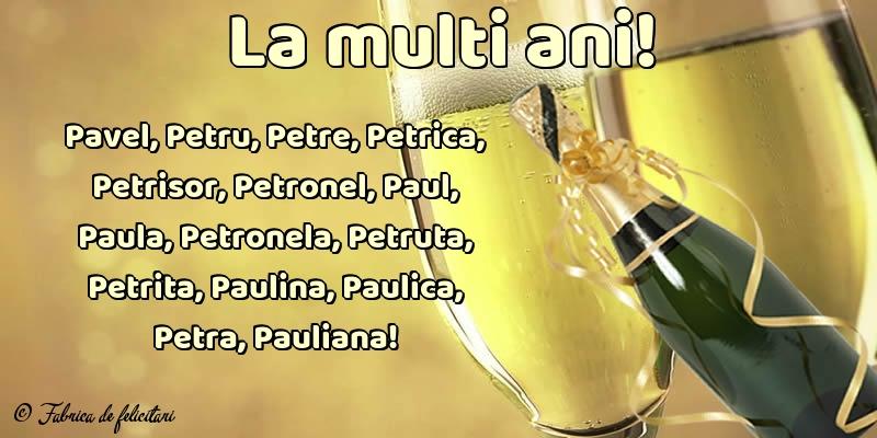 Felicitări de sfintii Petru si Pavel - La multi ani!