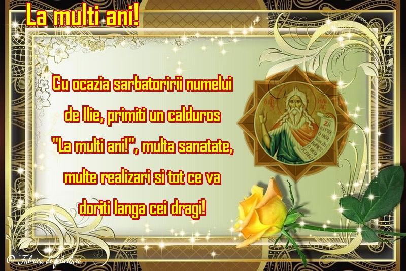 Felicitări de Sfantul Ilie - La mulţi ani!