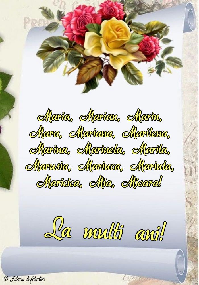 Felicitari de Sfanta Maria - La mulţi ani!