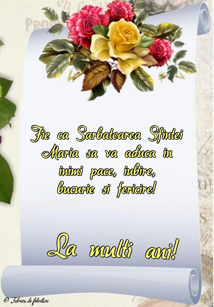Felicitari de Sfanta Maria - La mulți ani!